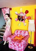 Funky retro interior with chair and mannequin - EDITORIAL ONLY.