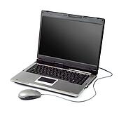 High-end laptop computer with mouse
