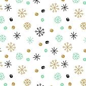 Vector background with hand drawn snowflakes and spots in pastel colors