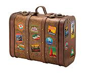 Old Suitcase with Royaly Free Travel Stickers