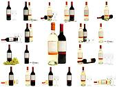 red and white wine bottles set