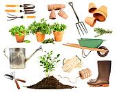 Variety of objects for spring planting on white