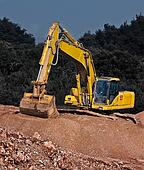 industrial gravel and excavator