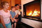 family and fireplace