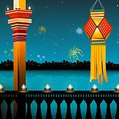 lamp lighting, lanterns, fireworks, balcony, festival - diwali