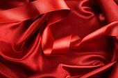 Rich red color satin fabric with ribbon