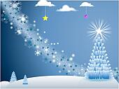 White Holiday Scene with snowflakes and Christmas Tree with stars on blue background