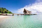 Nice scenery over beach with the water villas