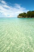 Paradise white sand blue water tropical island beach