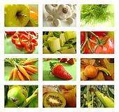 Nutrition collage of healthy food