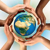 Multiracial Hands Surrounding the Earth Globe