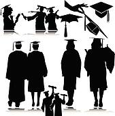 students vector silhouettes