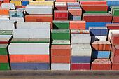 multicolored containers for cargo transportation on ship