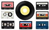 music audio tape and vinyl disc vintage