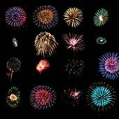 Sixteen fireworks design elements