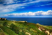 beautiful scenery with the ocean shore in Asturias, Spain