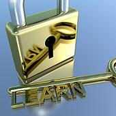 Padlock With Learn Key Showing Education Learning And Courses
