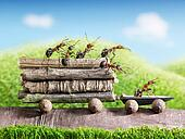 team of ants carry wooden logs with trail car, teamwork, ecofriendly transportation