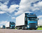 convoy of trucks on highway, cargo transportation concept