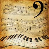 warped piano and music sheet background
