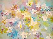 Abstract painting of flowers.