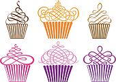 set of cupcakes, vector
