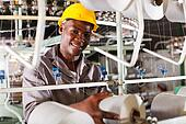 young african textile industry worker