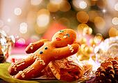 Gingerbread Man. Christmas Holiday Food. Christmas Table Setting