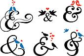 ampersand sign with birds, vector